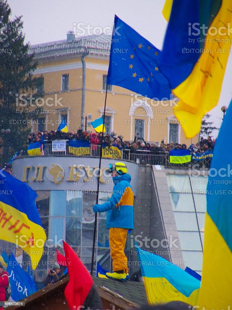 Continuous mass protest in the Ukrainian capital stock photo