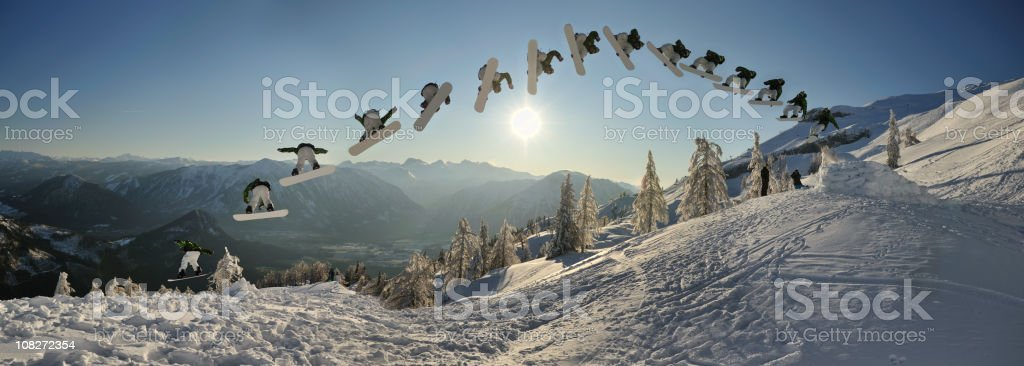 Continuous Shooting, Snowboarder doing a Monster Spin Trick (XXXL) stock photo