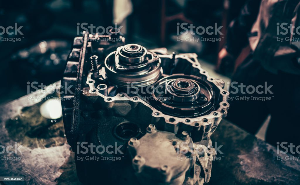 Continuously variable transmission metal parts close-up stock photo