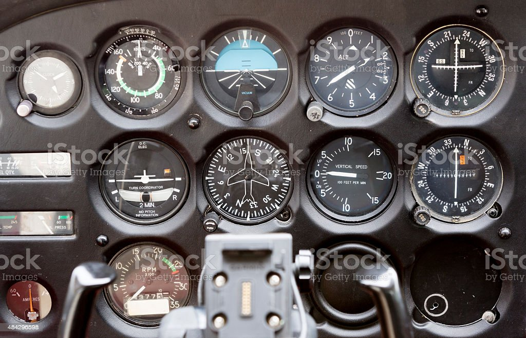 Contol panel on an airplane stock photo