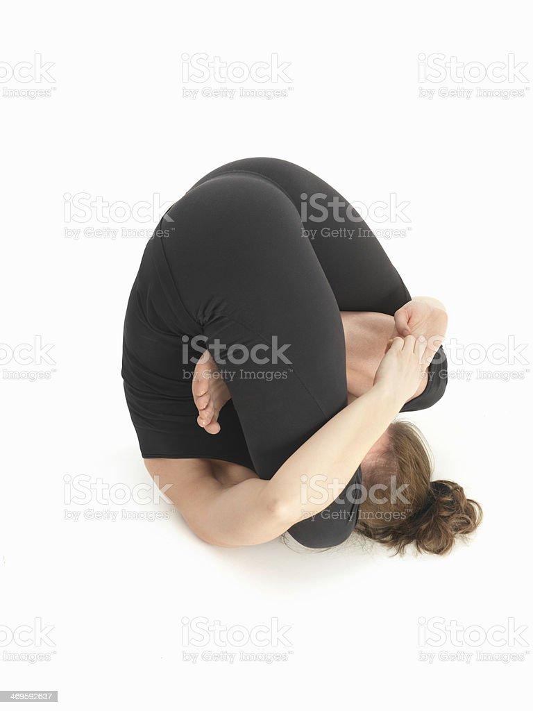 contorsion reversed yoga pose stock photo