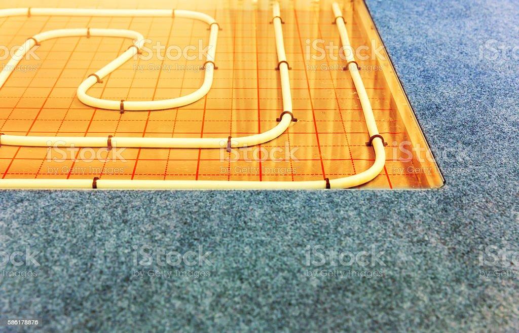 Contour of heat-insulated floor stock photo