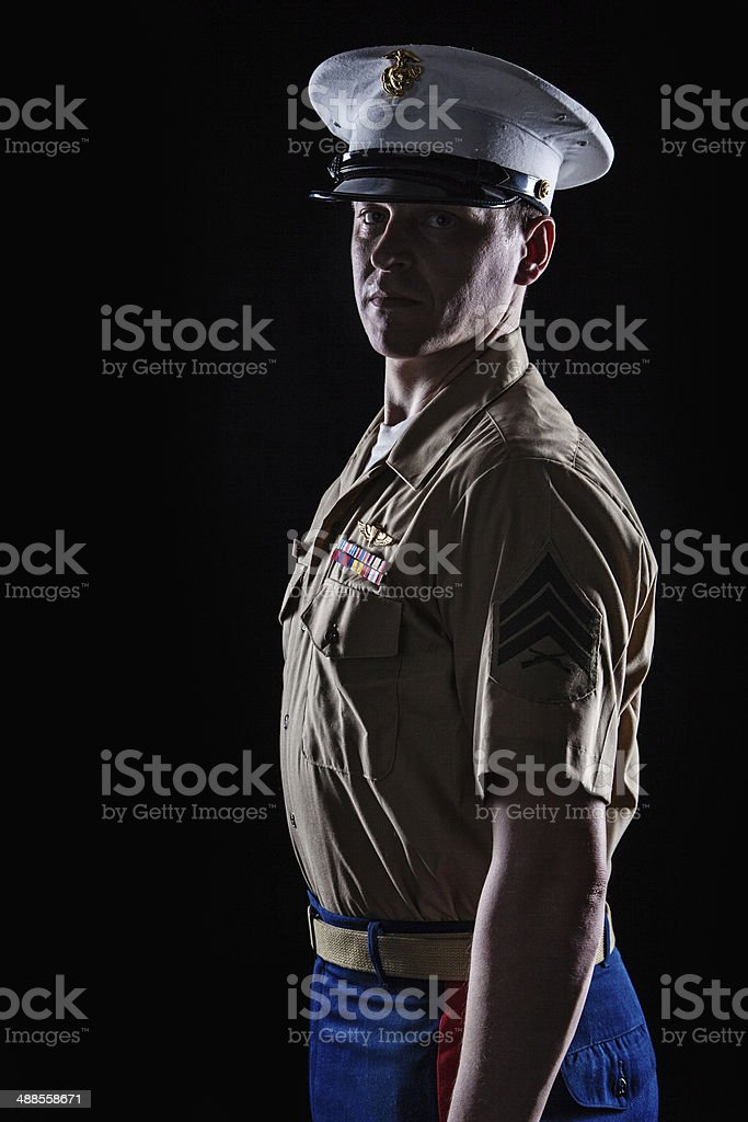 Contour shot of US marine in blue dress uniform stock photo