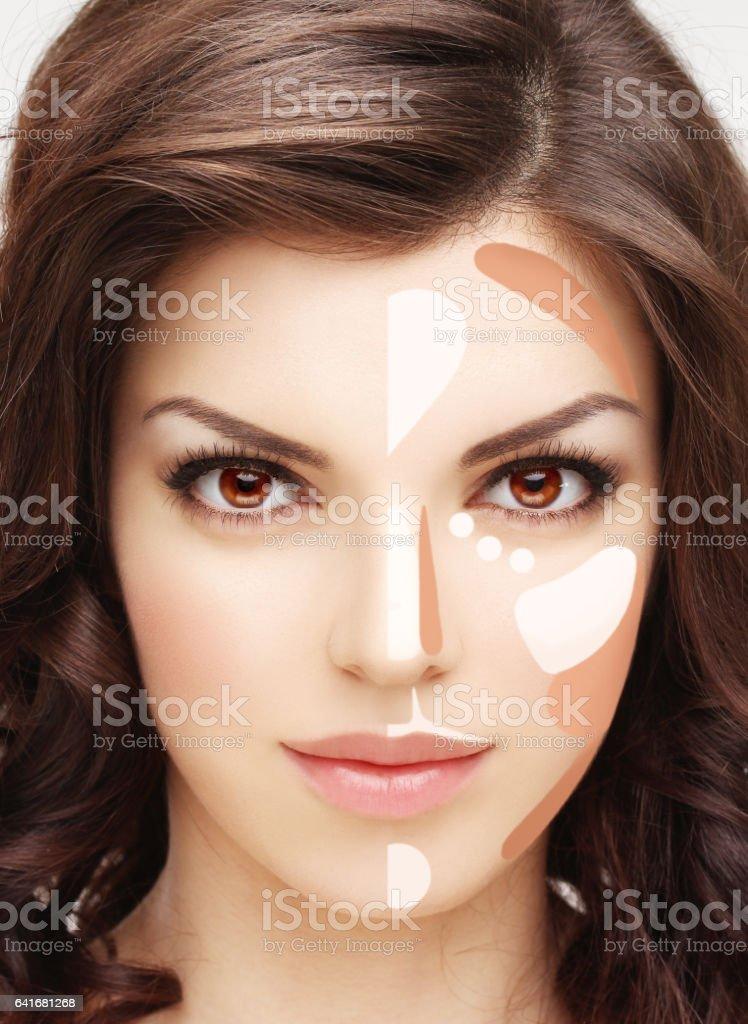 Contouring. Contour and highlight makeup. stock photo