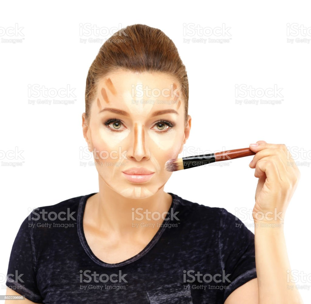 Contouring. Contour and highlight makeup. stock photo