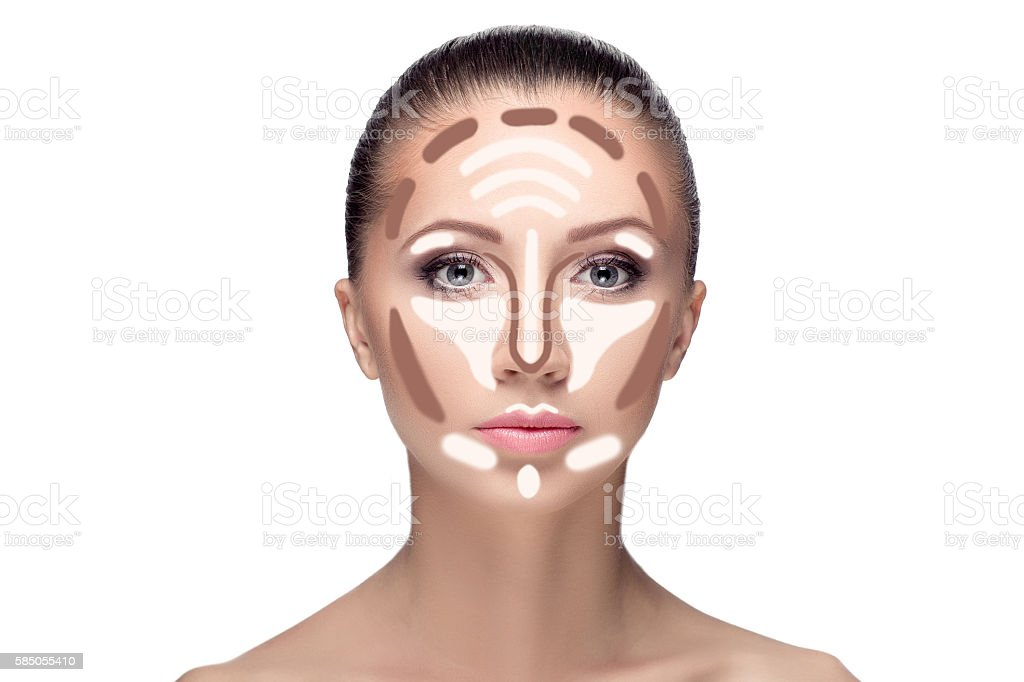 Contouring.Make up woman face. stock photo