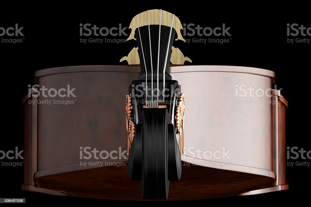 Contrabass. Isolated on black background. stock photo