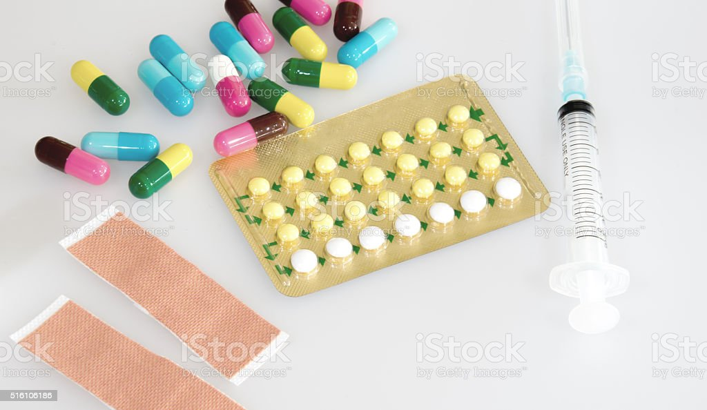 contraceptive control pill and others tablet medicine on white background stock photo