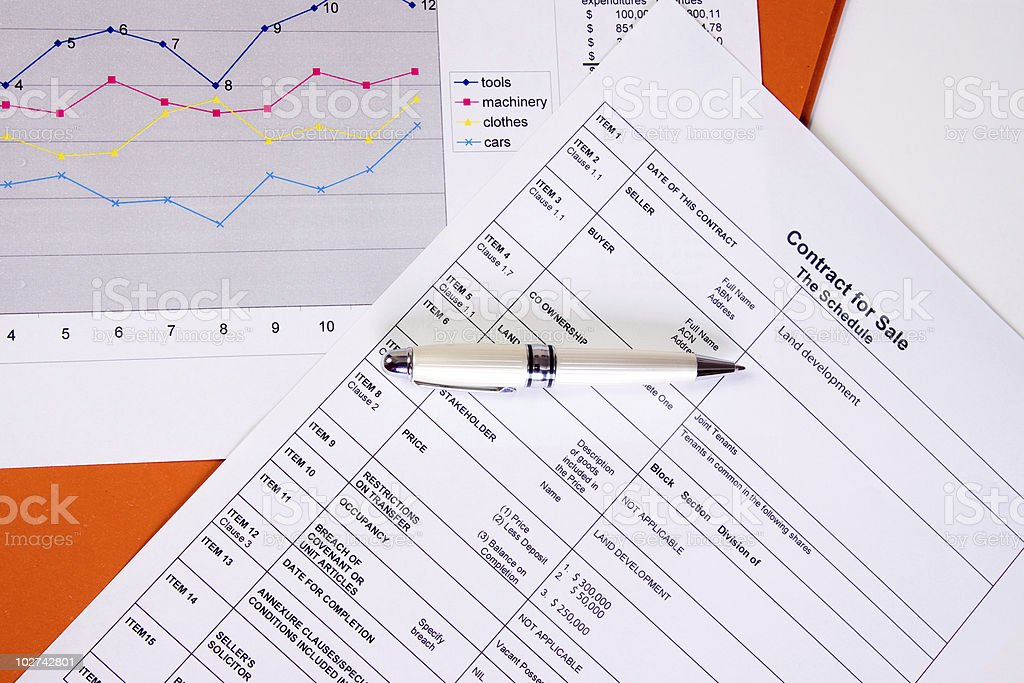 contract and charts royalty-free stock photo