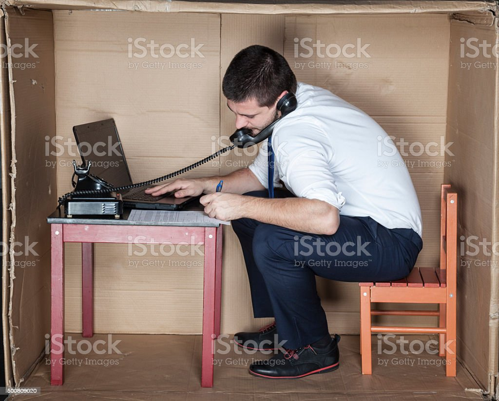 contract and phon in one time stock photo