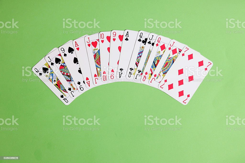 ACOL Contract Bridge Hand. Opening one of a suit. stock photo