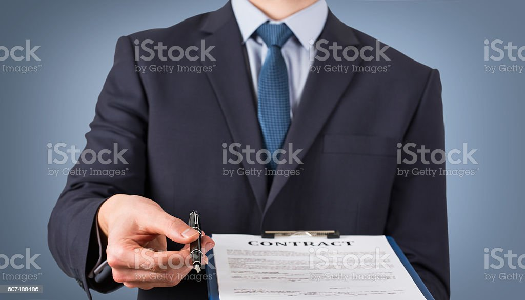 Contract Concept on Blue Background stock photo