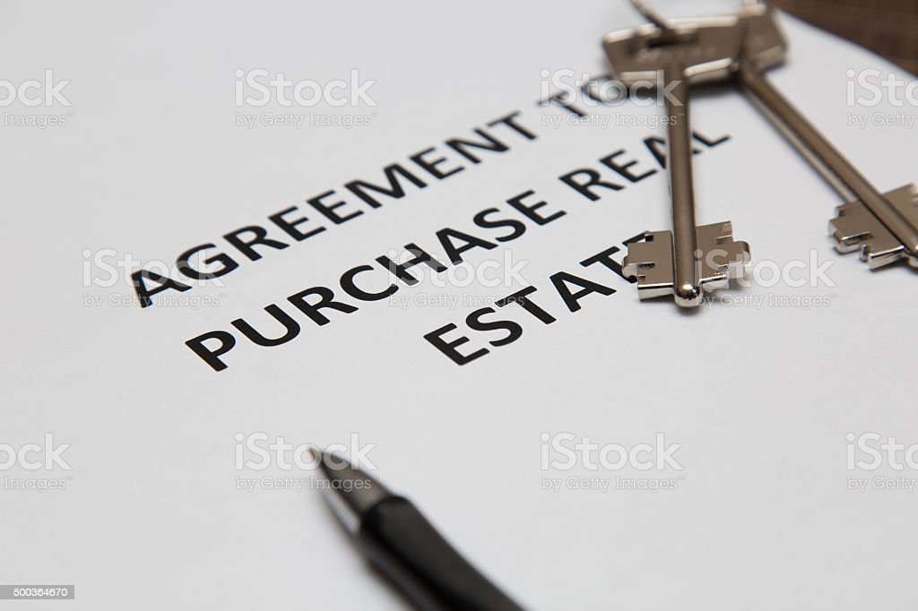contract for the sale of the house stock photo