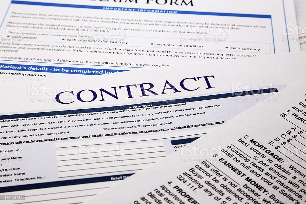 Contract form stock photo