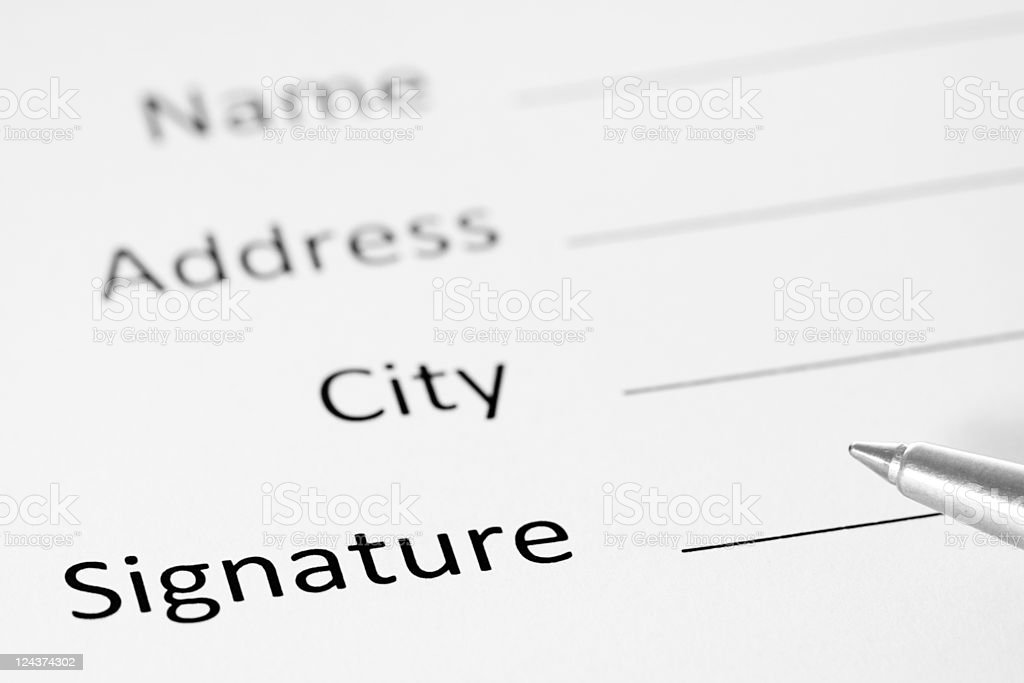 Contract Form With Pen, Black and White Image royalty-free stock photo