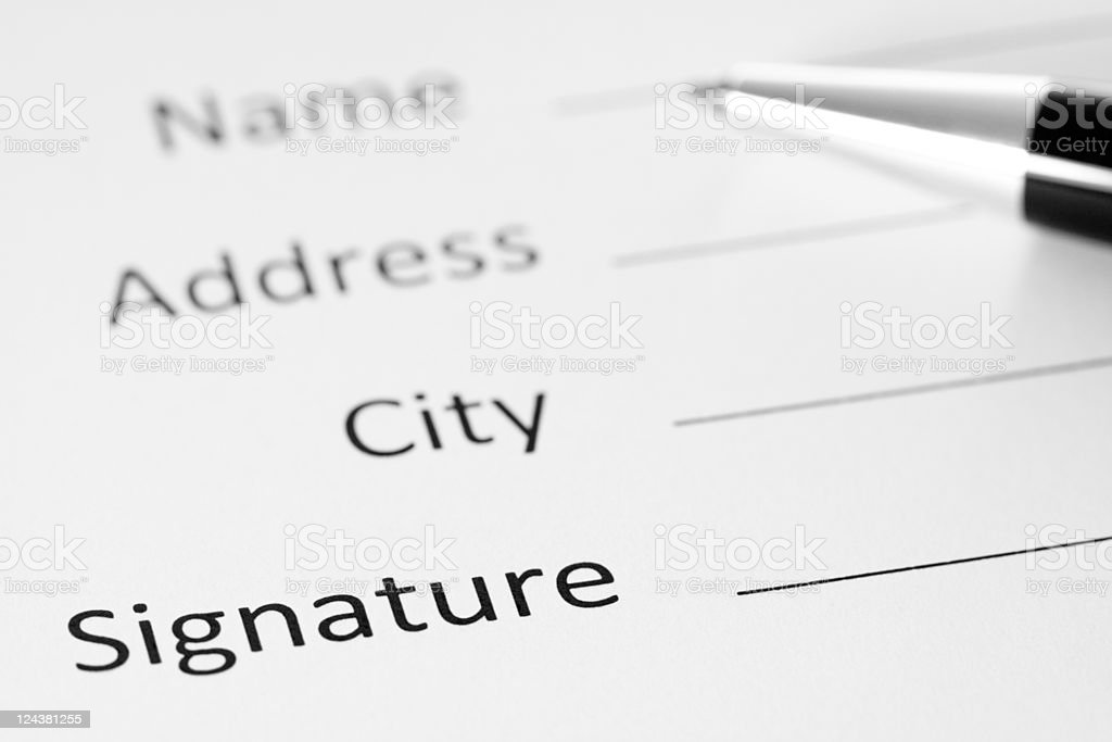 Contract Form With Pen, Black and White Image stock photo