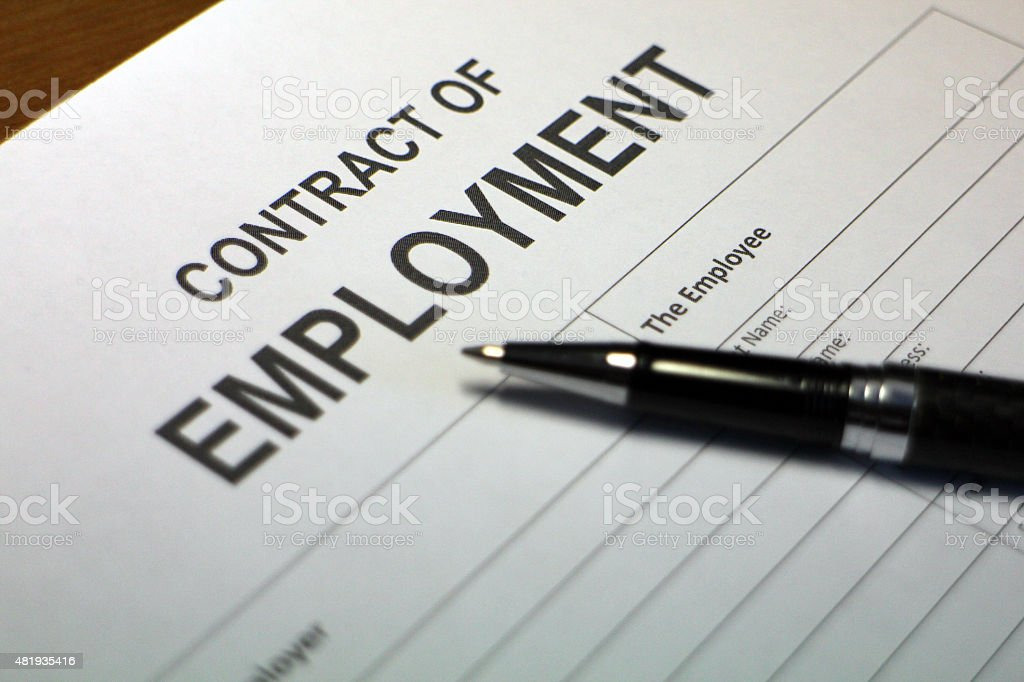 Contract of Employment Document stock photo