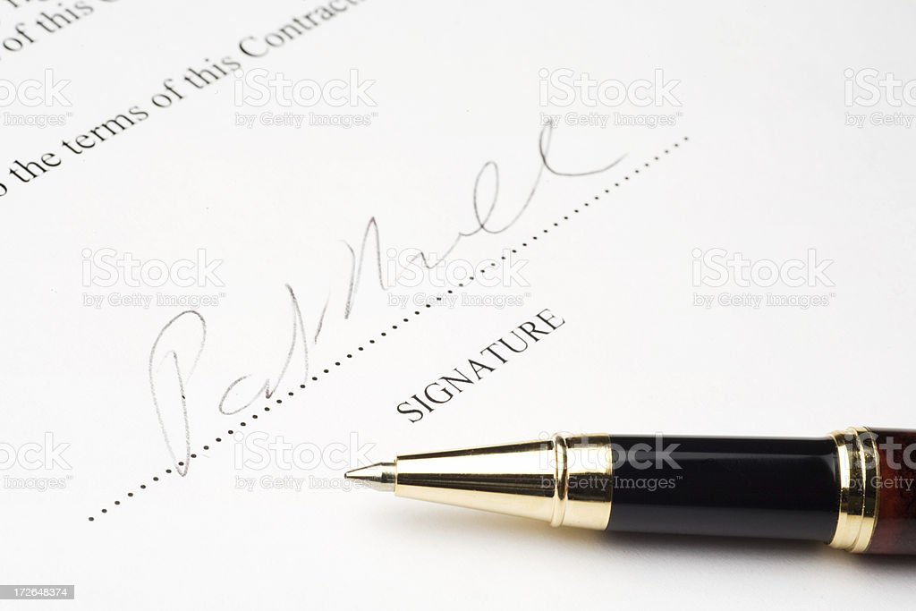 Contract, Signature, and Pen royalty-free stock photo