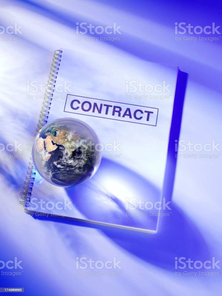 Contract with a Globe of Asia and the Middle East royalty-free stock photo