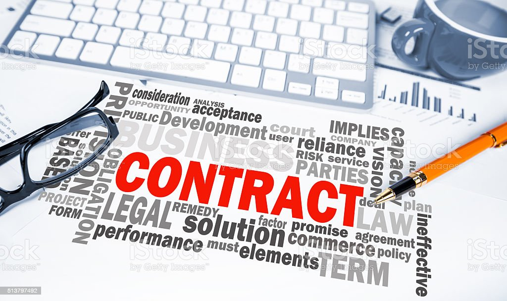 contract word cloud on office scene stock photo