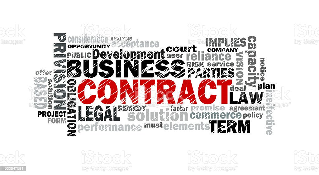 contract word cloud stock photo