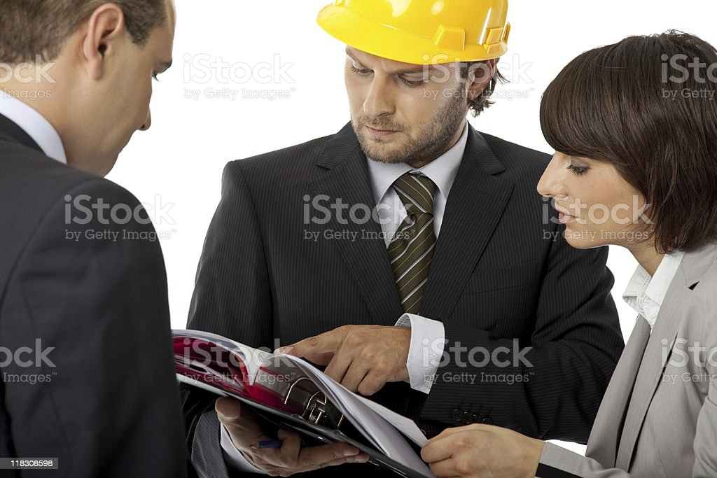 contractor and investor meeting royalty-free stock photo