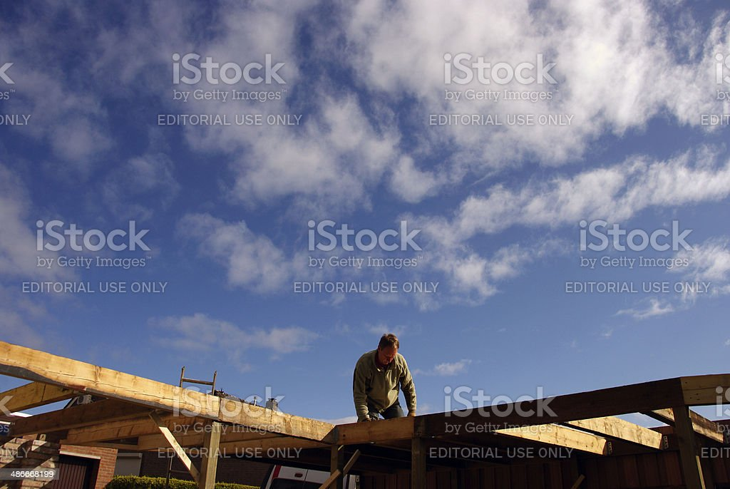 Contractor builds a carport royalty-free stock photo