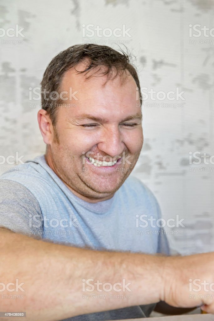 Contractor laughing royalty-free stock photo