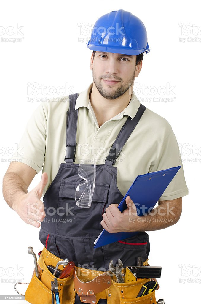 Contractor offering for handshake royalty-free stock photo