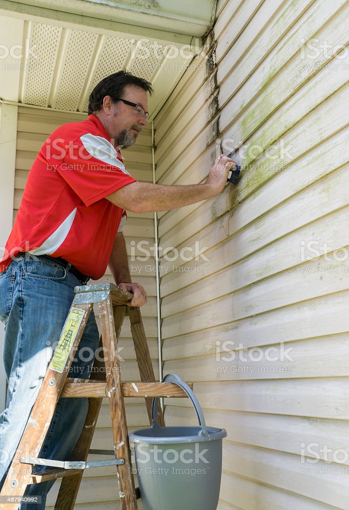 Contractor On Ladder Cleaning Algae And Mold From Vinyl Siding stock photo