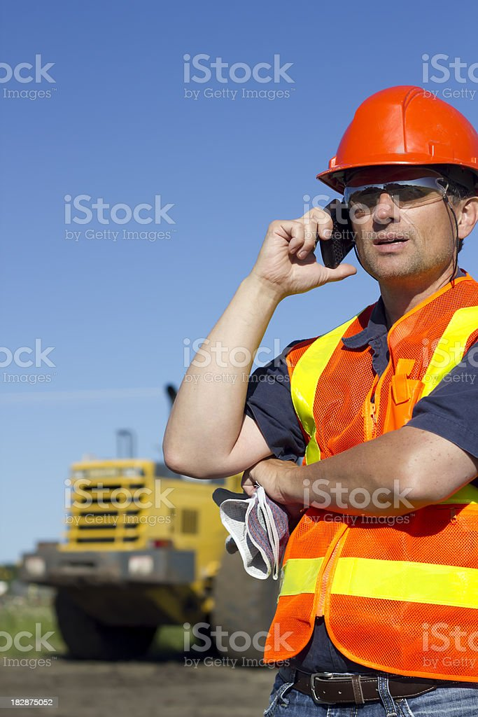 Contractor on the Phone royalty-free stock photo
