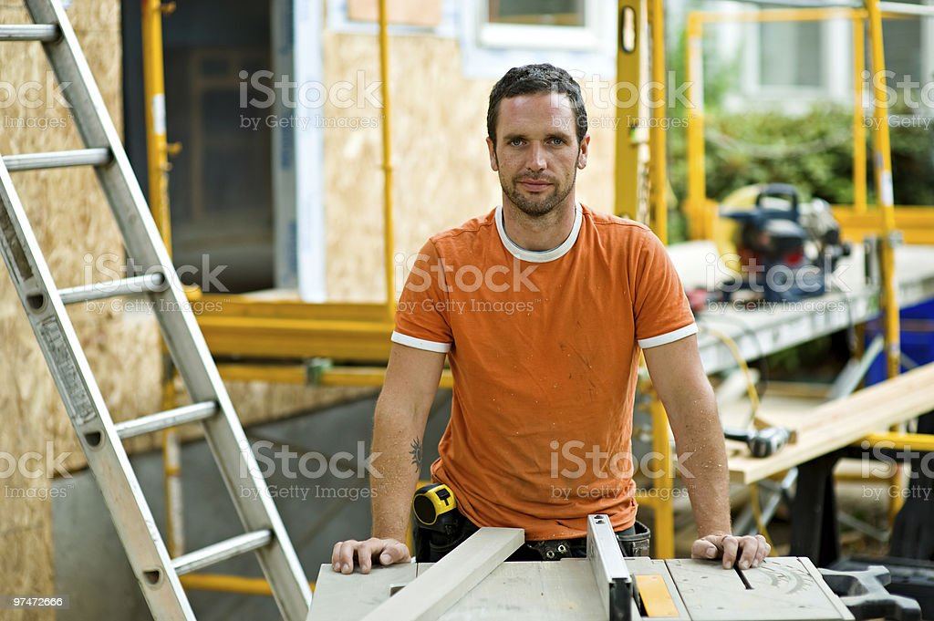 Contractor Remodeling a Home stock photo