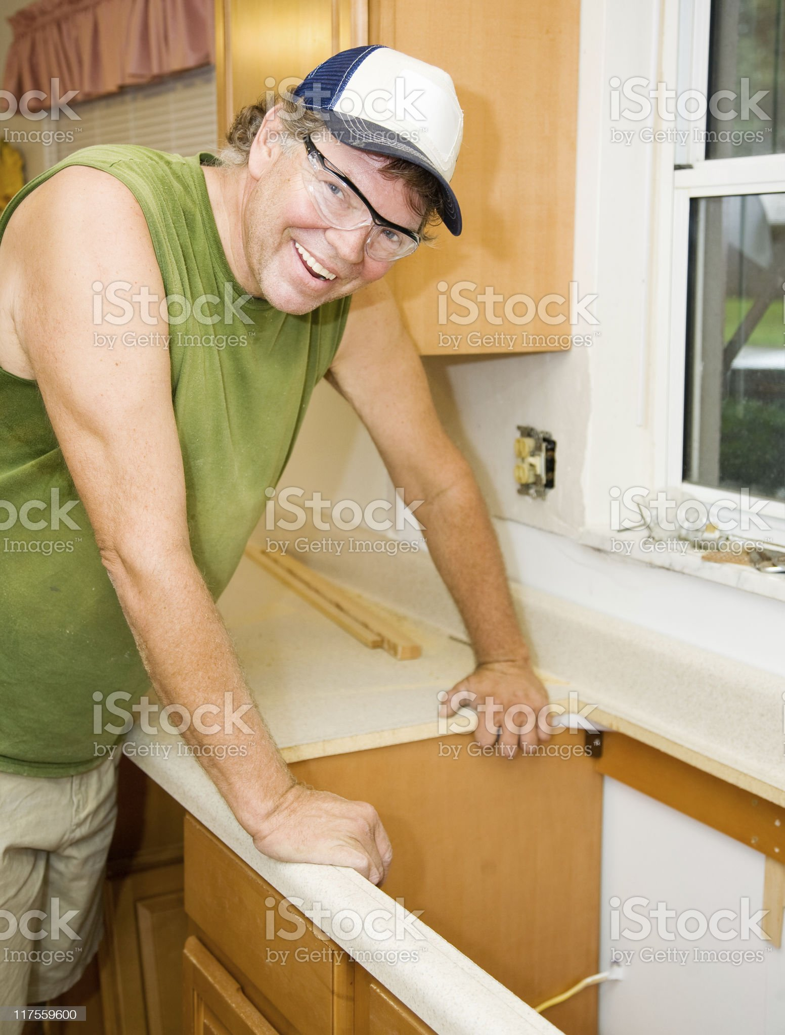 Contractor Remodels Kitchen royalty-free stock photo