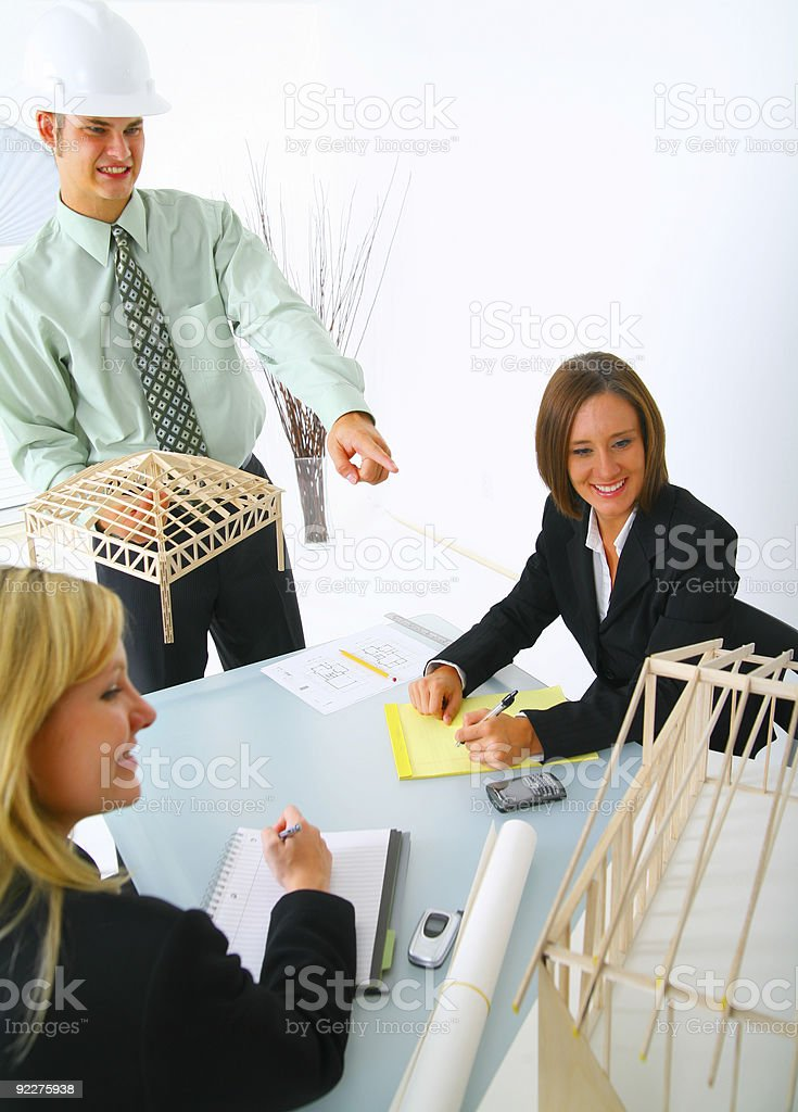 Contractor Showing House Model royalty-free stock photo