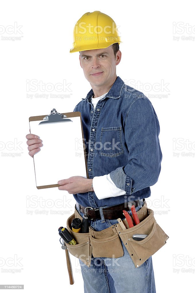 Contractor With Clipboard royalty-free stock photo