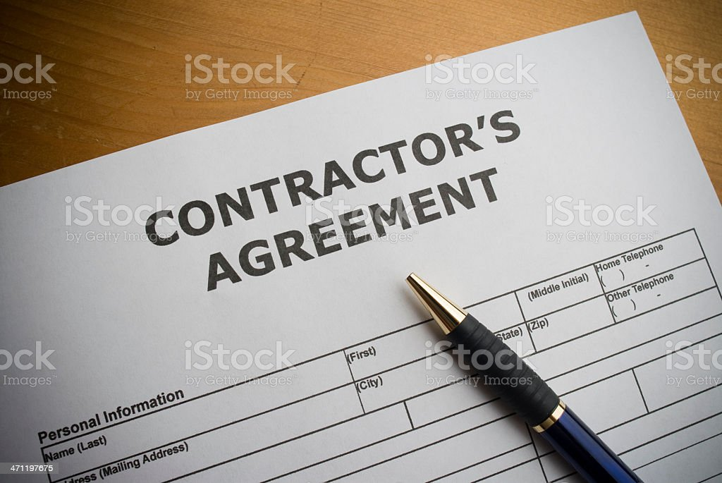 Contractors agreement stock photo