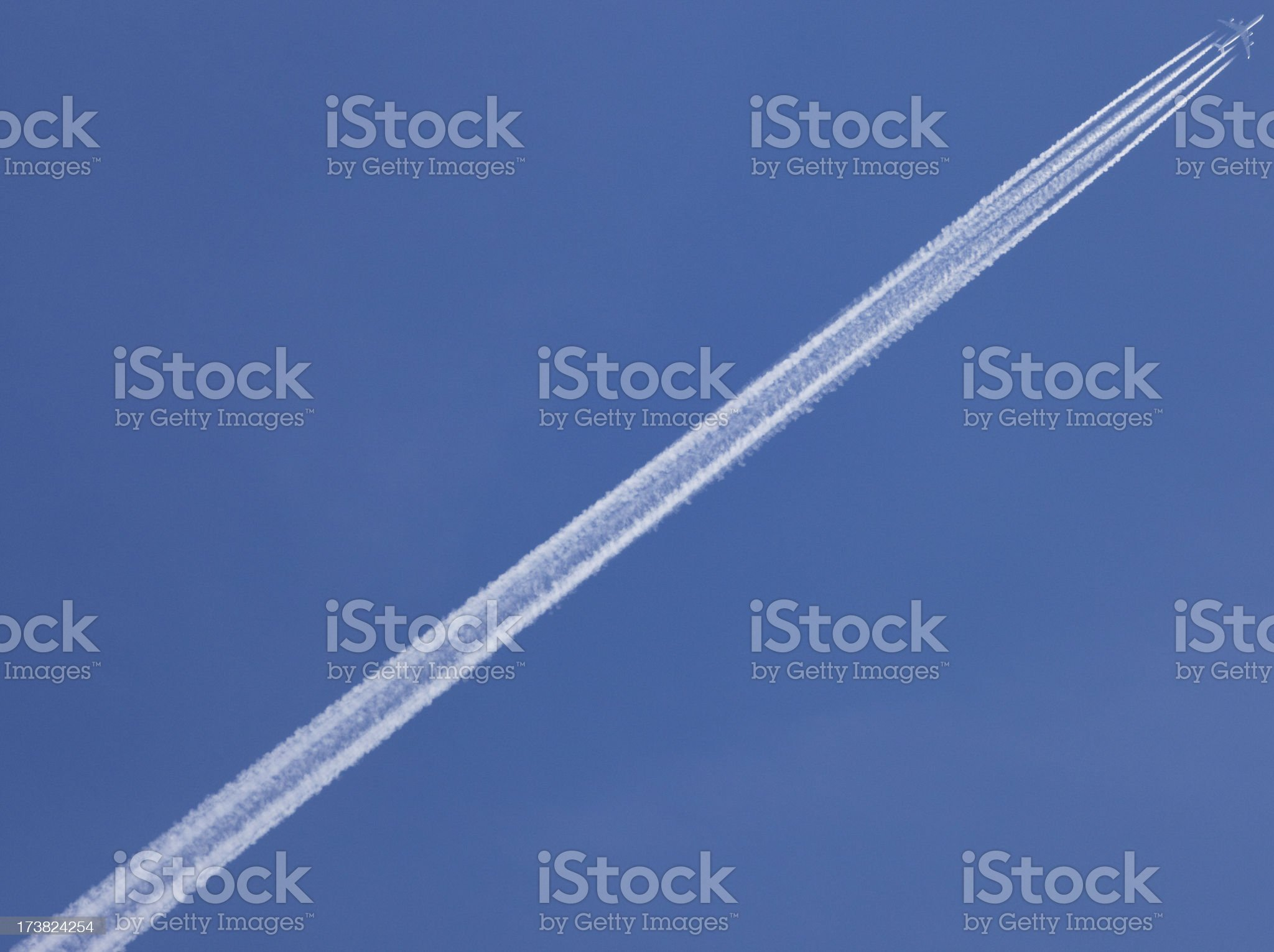 Contrail pollution royalty-free stock photo