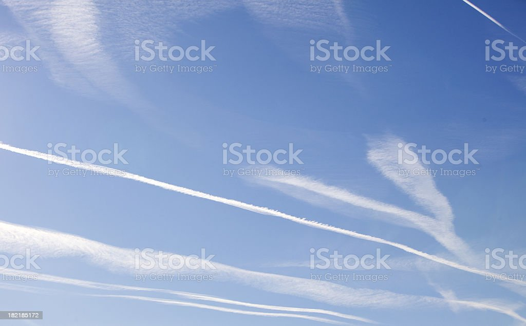 Contrailks in southern France royalty-free stock photo