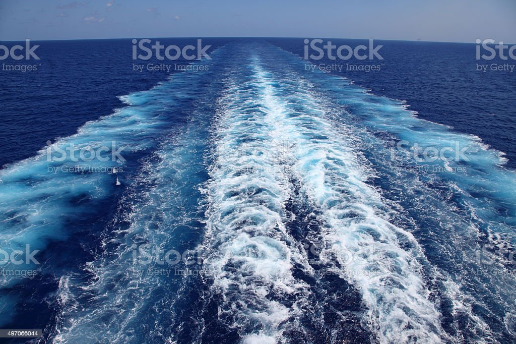 Contrails in the sea stock photo