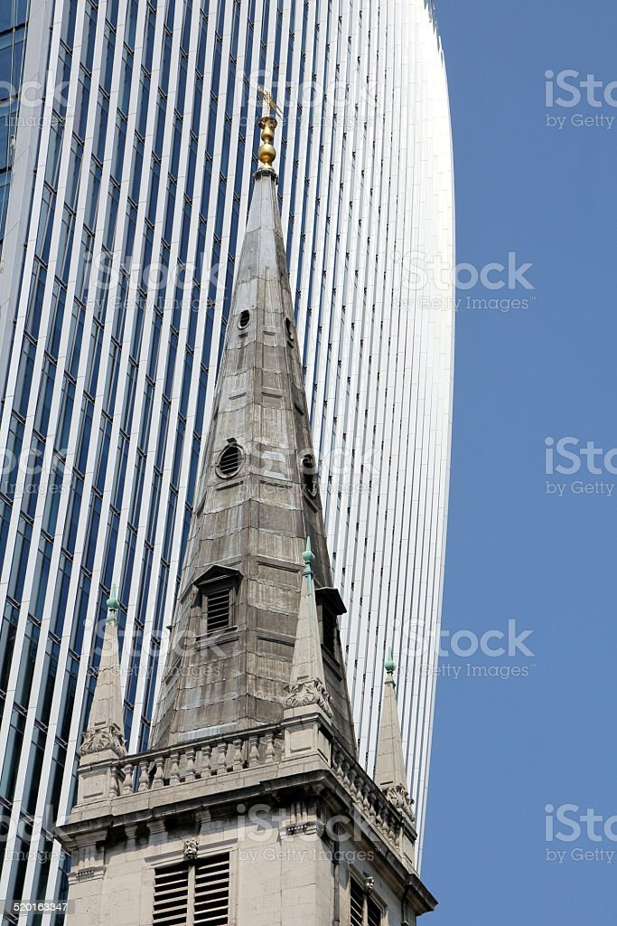 Contrast between old and new and between clerical and profane stock photo