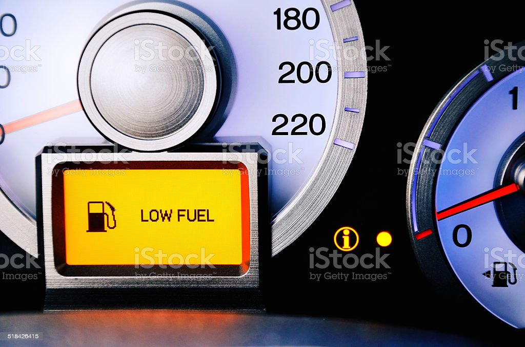 contrast image sensor fuel warning Low level stock photo