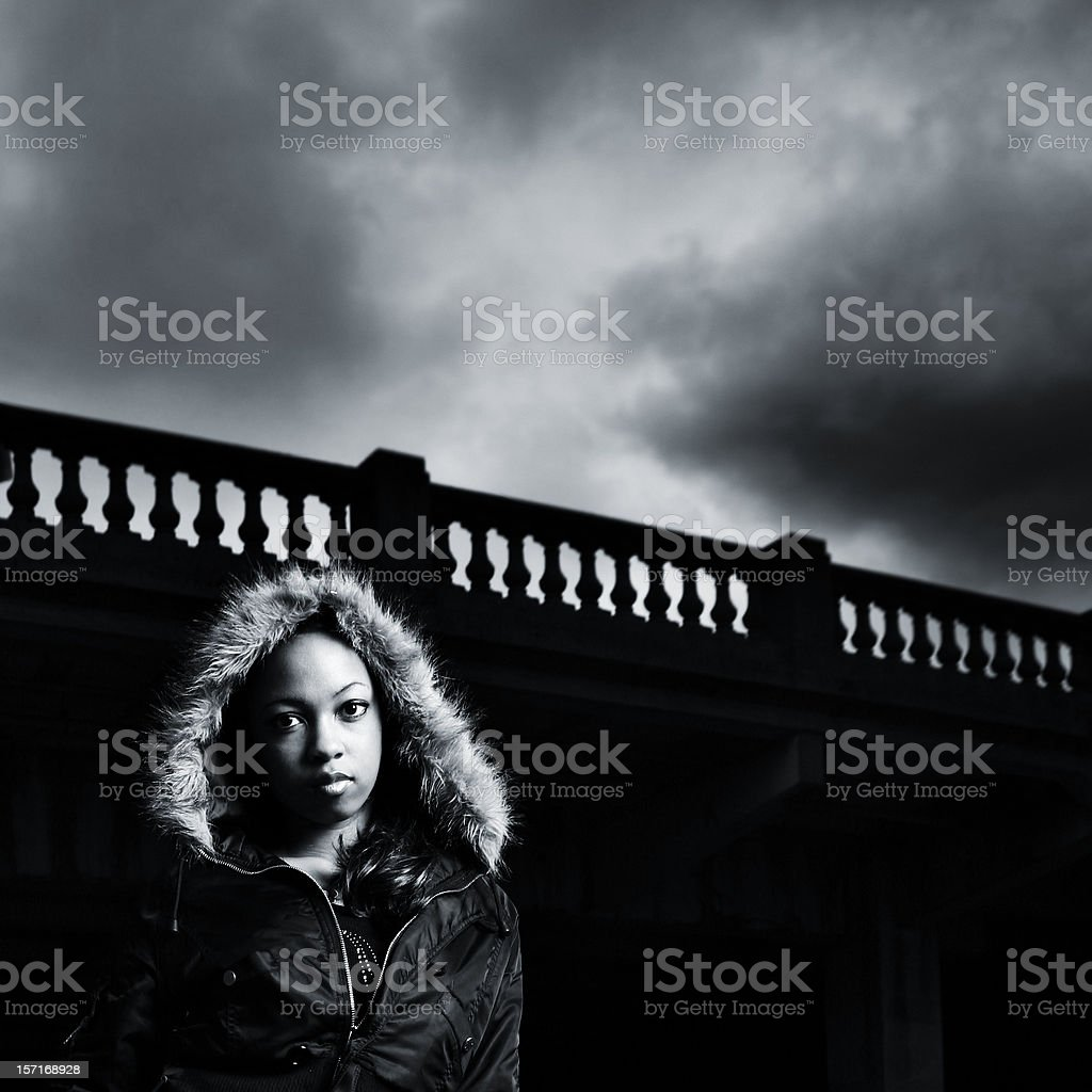 Contrast Of Black And White, Gray Skies. royalty-free stock photo