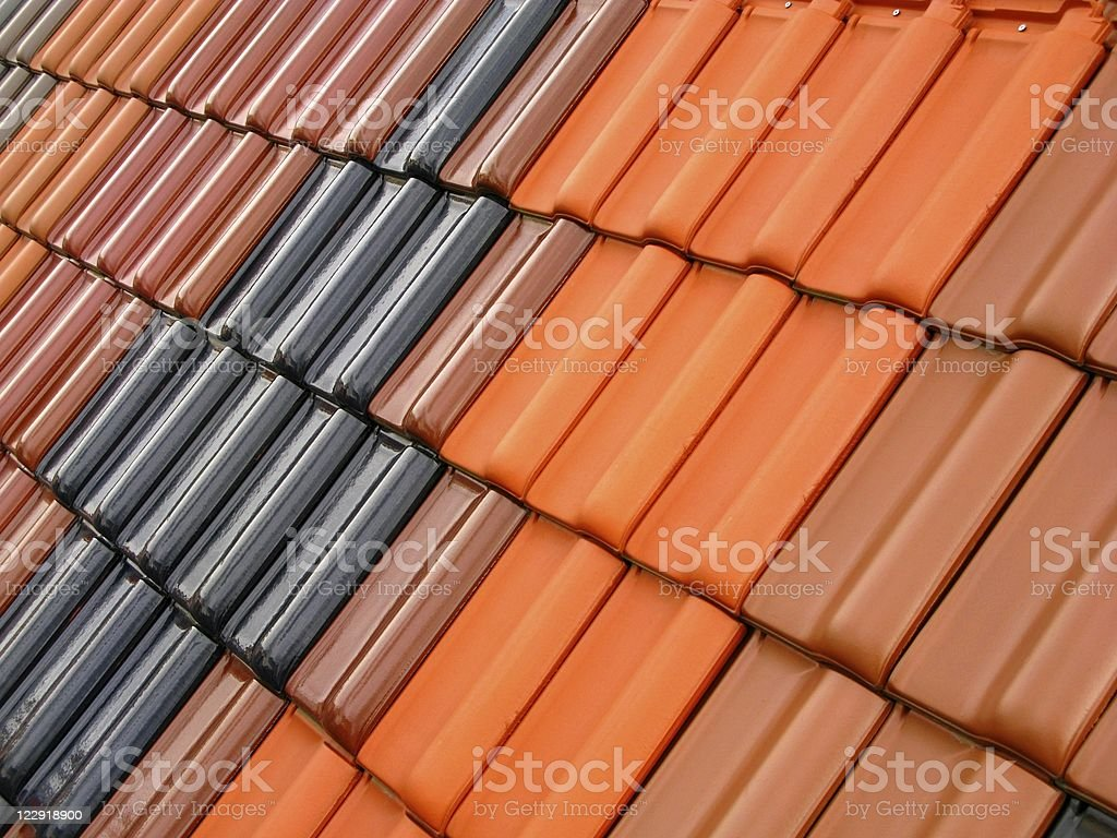 Contrast of clay roof tiles with symmetry stock photo