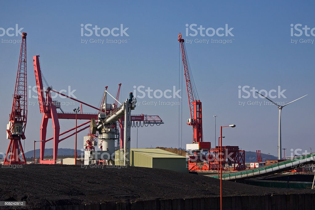 Contrasting forms of energy provision at a UK port stock photo