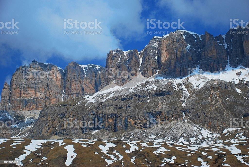 Contrasting Mountain Cliff in Passo di Sella, The Italian Dolomites stock photo