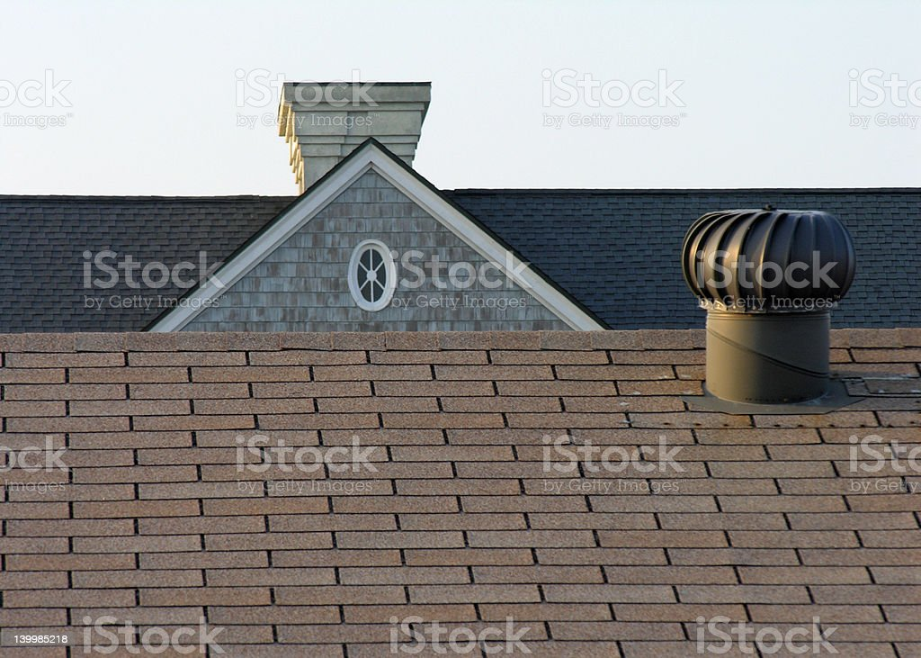 Contrasting Roofs and Lines royalty-free stock photo