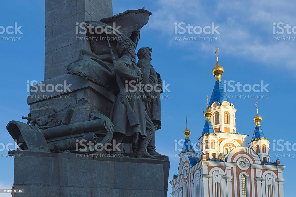 Contrasts of Khabarovsk. Far East, Russia stock photo