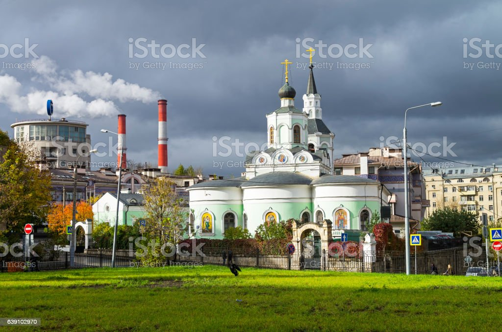 Contrasts of Moscow architecture. stock photo