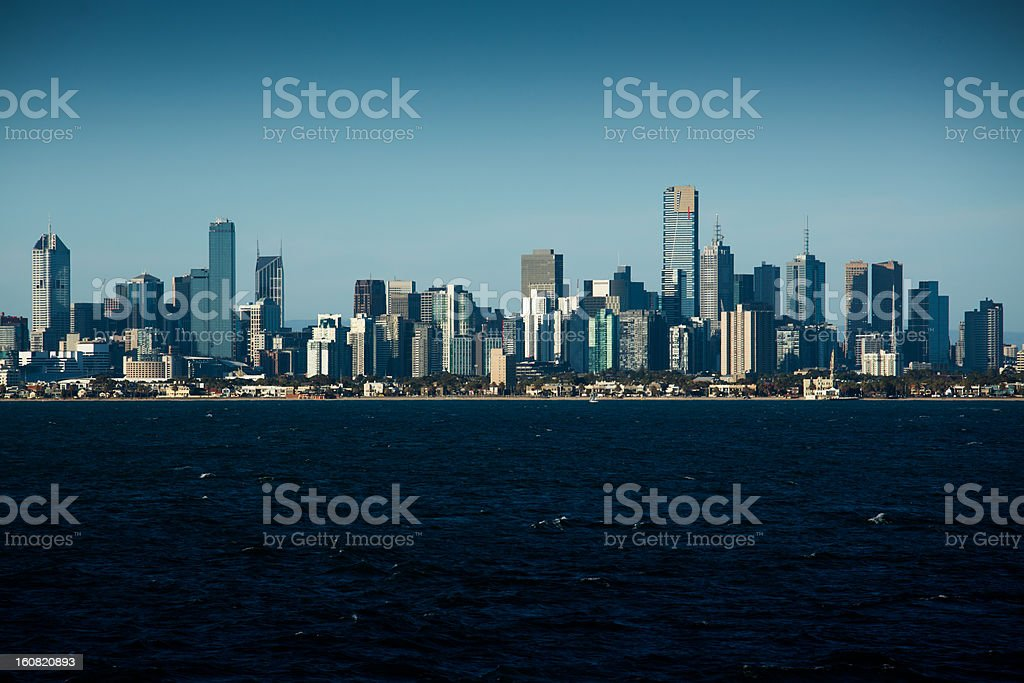 Contrasty Melbourne City Skyline from the water royalty-free stock photo