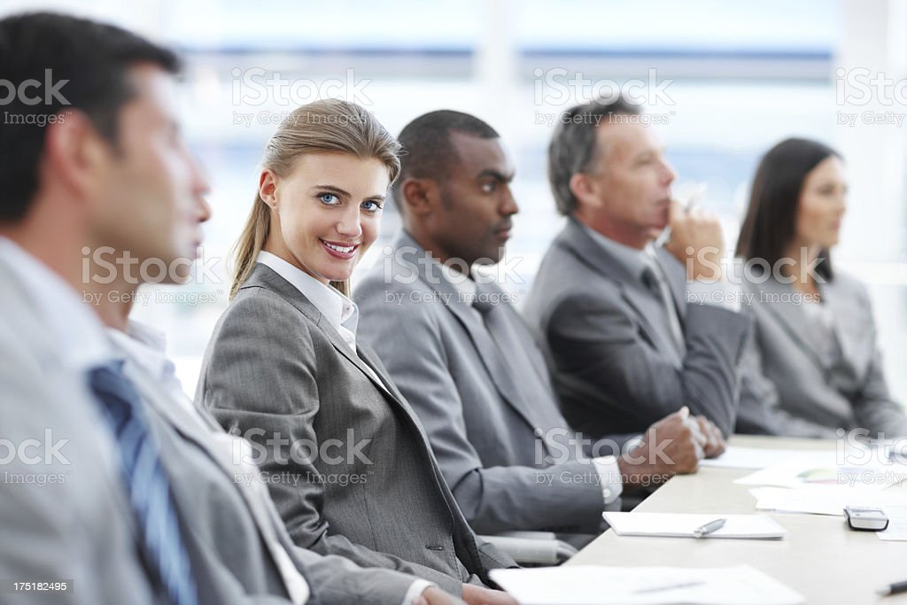 Contributing to the business team royalty-free stock photo